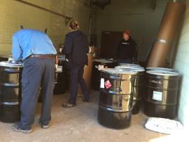 Preparing hazardous waste for transport to off-site disposal facility