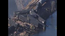 Derailed tanker cars