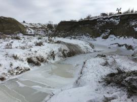 The creek near CP#4.  The creek has iced over with the recent blizzard and cold front.