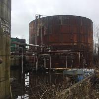 View of large (300,000 gal) tall oil tank in large secondary containment in Tank Farm area.