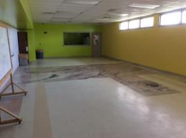 Interior recreation room prior to the removal of contaminated dust.