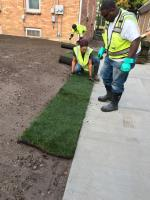 ERRS contractor laying Sod between