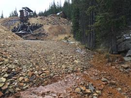 Jumbo Mine Site looking up at adit<br />Date Taken: 9/25/2017<br />Category: Site Photo<br />Latitude: 39.5982346<br />Longitude: -105.8538828<br />Tags: Original Conditions