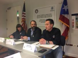 FEMA Federal Coordinating Officer for Water Sector, Nancy Casper, and Eli Diaz, President of PRASA, meet with Regional Administrator Pete Lopez at FEMA's Joint Recovery Office in San Juan. April 26, 2018.  Photo courtesy of U.S. EPA.