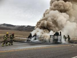 Fire being extinguished. Photo Credit: Wasatch County Fire