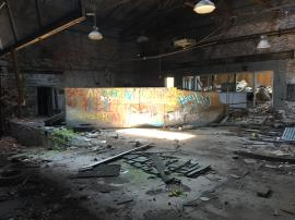 Graffiti from trespassers into Power House building