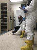 EPA START contractor performing storage room assessment and readings for mercury vapors utilizing Jerome (mg/m3) and Lumex (ng/m3) instrumentation.