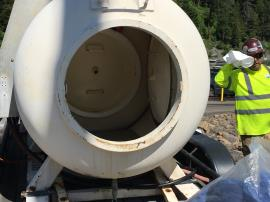 Emergency decompression tank for the dive operation at Wallowa Lake.