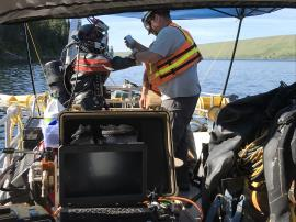 EPA contracted salvage divers prepare to inspected drums 90 - 120 feet below the surface of Wallowa Lake.