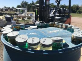 Staged samples from unknown chemical waste containers/drums for hazard characterization testing.<br />Date Taken: 9/18/2019<br />Category: Site Photo<br />Latitude: 44.1368555555556<br />Longitude: -103.132972222222<br />Tags: