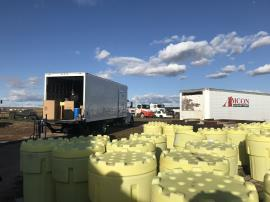 View of staging area as drums are being loaded fro off-site transportation and disposal.  <br />Date Taken: 10/21/2019<br />Category: Site Photo<br />Latitude: 44.1370277777778<br />Longitude: -103.132888888889<br />Tags: