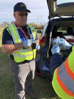 OSC Loesel secures samples at location TPC-02.<br />Date Taken: 12/1/2019<br />Category: 20191201 - Water Sampling<br />Latitude: 29.9701972222222<br />Longitude: -93.9142694444444<br />Tags: