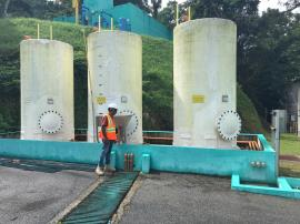 EPA personnel performing an assessment of tanks at the PRASA Filtration Plant in Patillas.