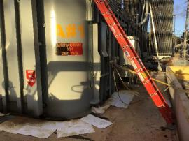 Spill of dielectric fluid from a damaged transformer into secondary containment at the PREPA Costa Sur power plant.