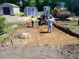 Sealed cistern and excavation