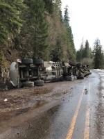 Tanker truck and trailer wreck and rollover