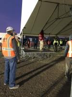 Morning safety briefing for all staff at the Jackson County staging area.<br />Date Taken: 10/22/2020<br />Category: Site Photo<br />Latitude: <br />Longitude: <br />Tags: Safety, staging