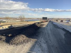 View of removed impacted asphalt following milling