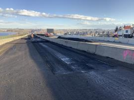 View of  I-25 South following milling of impacted roadway