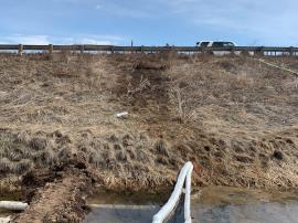 An eastern view of the western bank of I-25, a noticeable dark stain can be seen above stream channel.