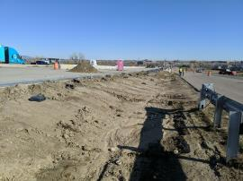 Drainage ditch east of I-25 North following  removal efforts.