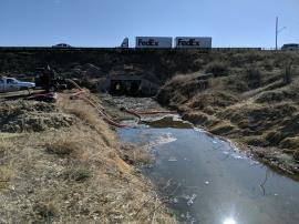 Water being diverted from Hillsboro ditch to an entry point further south along the drainage ditch west of I-25.