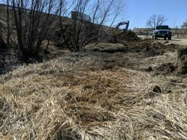 Staining observed on vegetation adjacent to drainage ditch west of I-25 South.