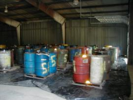 drums staged for liquid transfer