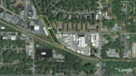 Aerial view of North Corridor (Highlighted).  Location of ESI and confirmed lead-contaminated soils in ditch.