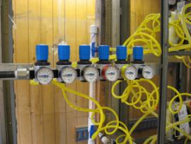 Gages in trailer showing pressures in injection lines.