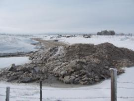Mounded gypwater ice in farm field