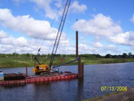 Day one of Turbidity Barrier Construction in Tittabawassee River at Reach Project D Area
