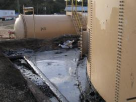 Crude spilled inside the tank farm