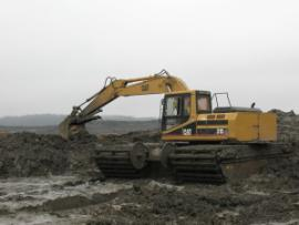 Removal of fly ash in Area C by amphibious backhoe.<br />Date Taken: 1/3/2009<br />Category: <br />Latitude: <br />Longitude: <br />Tags: