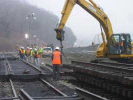 Staging of new railroad track for installation along Swan Pond Road at the Kingston Fossil Plant.<br />Date Taken: 1/4/2009<br />Category: <br />Latitude: <br />Longitude: <br />Tags: