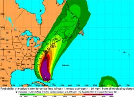 Current track of Hurricane Irene Friday, August 26, 2011 at 1500 hours