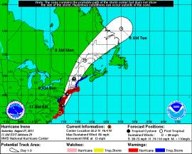 Hurricane Irene's current path as of Saturday, August 27 1400 hours