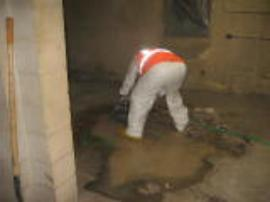 ERRS cutting the concrete floor with a saw