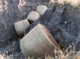 Large straw bales placed in erosional gulleys to slow down water flow and minimize further erosion.<br />Date Taken: 9/20/2014<br />Category: Site Photo<br />Latitude: <br />Longitude: <br />Tags: