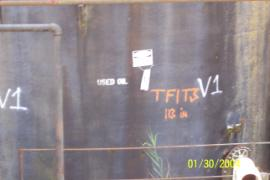 Example tank marking by ERRS indicating Tank # and level of contents.  In this instance there are 113 inches of
