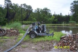 Heavy duty pump used to move water from retention ponds to frac tanks approx. 200 yards away.