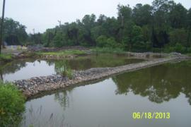 Lowered water level in retention ponds as of 6/18/2013