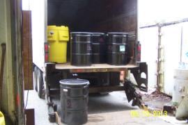 First truck load-out.  Forty three drums and three chemical totes.