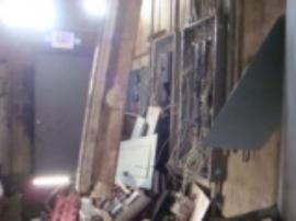 Copper wiring removed from control room area near incinerator.