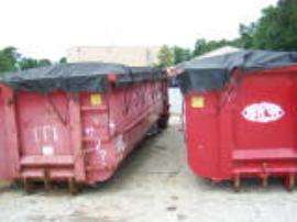 Roll-offs of unprocess contaminated soil in Freehold Cartage containers.