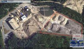 Google Earth overhead of RKI facility and soil storage piles dates 10/2011.
