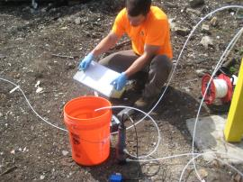SESCO conducting low-flow sampling