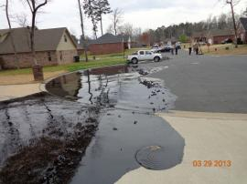 Oil pathway through North Woods Subdivision, Starlight Street