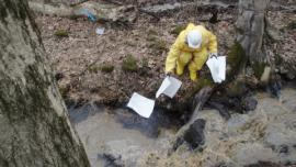 Using absorbent pads to pick up pockets of oil in stream within Zone 2B<br />Date Taken: 3/25/2014<br />Category: Site Photo<br />Latitude: <br />Longitude: <br />Tags: