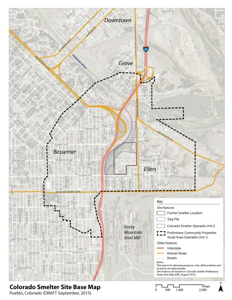 Colorado Smelter site base map showing former smelter location, slag pile, outlines of operable units 1 and 2 of the Superfund site, and streets.